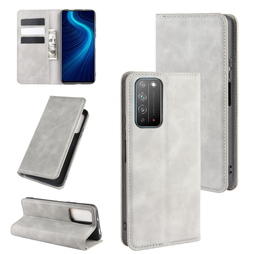 For Honor X10 5G   Retro-skin Business Magnetic Suction Leather Case with Holder & Card Slots & Wallet(Grey)
