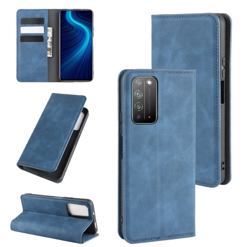 For Honor X10 5G   Retro-skin Business Magnetic Suction Leather Case with Holder & Card Slots & Wallet(Dark Blue)