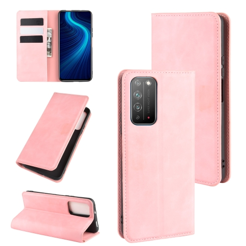 For Honor X10 5G   Retro-skin Business Magnetic Suction Leather Case with Holder & Card Slots & Wallet(Pink)