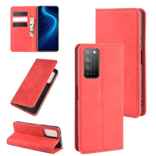 For Honor X10 5G   Retro-skin Business Magnetic Suction Leather Case with Holder & Card Slots & Wallet(Red)