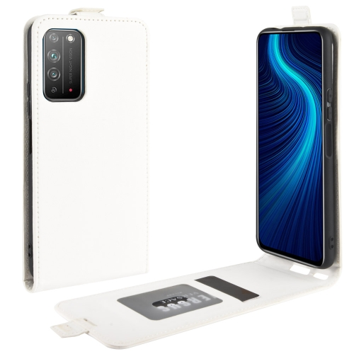 For Honor X10 5G   R64 Texture Single Vertical Flip Leather Protective Case with Card Slots & Photo Frame(White)