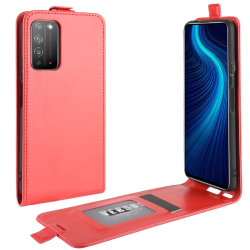 For Honor X10 5G   R64 Texture Single Vertical Flip Leather Protective Case with Card Slots & Photo Frame(Red)