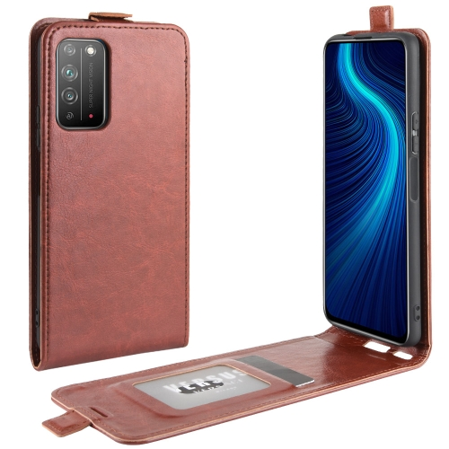 For Honor X10 5G   R64 Texture Single Vertical Flip Leather Protective Case with Card Slots & Photo Frame(Brown)