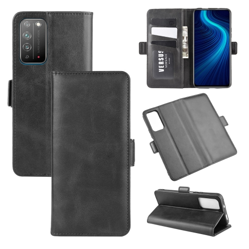 For Honor X10 5G   Dual-side Magnetic Buckle Horizontal Flip Leather Case with Holder & Card Slots & Wallet(Black)