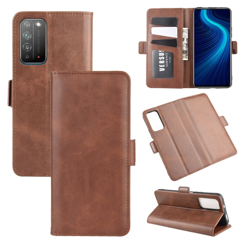 For Honor X10 5G   Dual-side Magnetic Buckle Horizontal Flip Leather Case with Holder & Card Slots & Wallet(Brown)