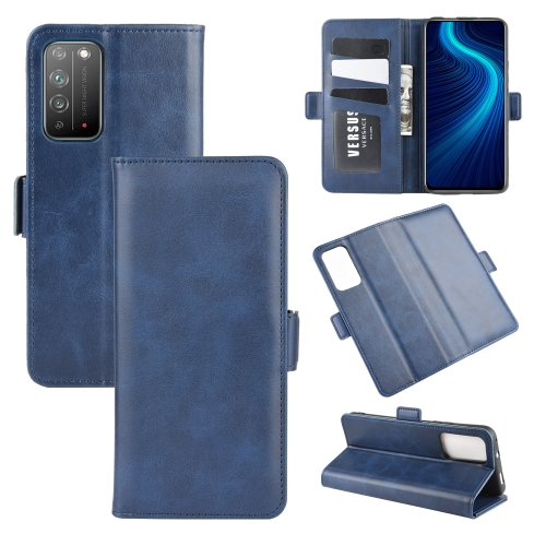For Honor X10 5G   Dual-side Magnetic Buckle Horizontal Flip Leather Case with Holder & Card Slots & Wallet(Dark Blue)