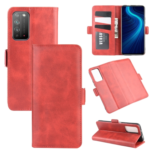 For Honor X10 5G   Dual-side Magnetic Buckle Horizontal Flip Leather Case with Holder & Card Slots & Wallet(Red)