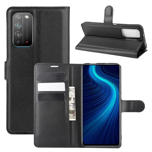 For Honor X10 5G   Litchi Texture Horizontal Flip Protective Case with Holder & Card Slots & Wallet(Black)