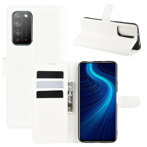 For Honor X10 5G   Litchi Texture Horizontal Flip Protective Case with Holder & Card Slots & Wallet(White)