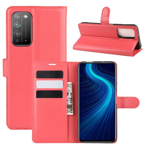 For Honor X10 5G   Litchi Texture Horizontal Flip Protective Case with Holder & Card Slots & Wallet(Red)