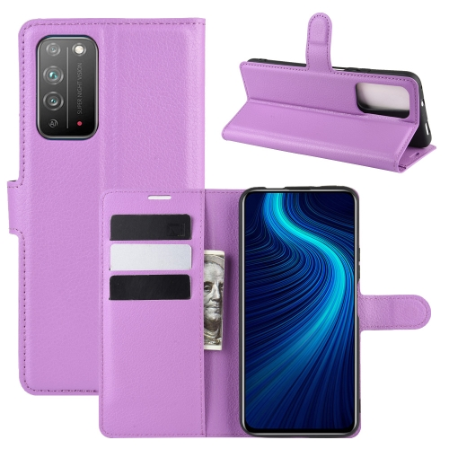 For Honor X10 5G   Litchi Texture Horizontal Flip Protective Case with Holder & Card Slots & Wallet(Purple)