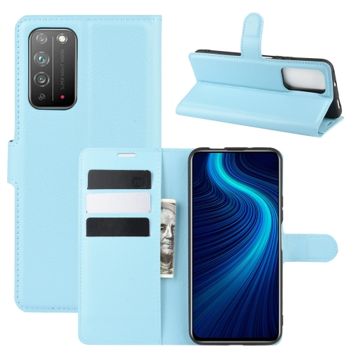 For Honor X10 5G   Litchi Texture Horizontal Flip Protective Case with Holder & Card Slots & Wallet(Blue)