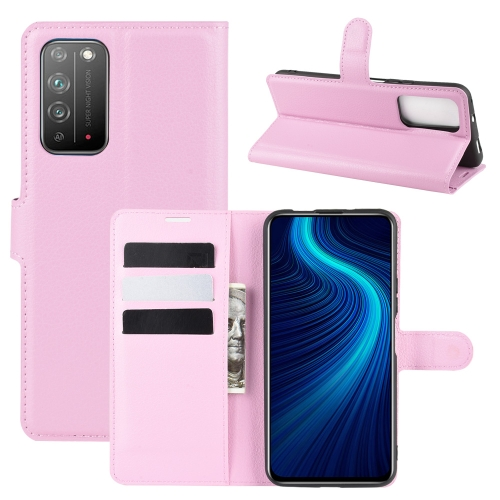 For Honor X10 5G   Litchi Texture Horizontal Flip Protective Case with Holder & Card Slots & Wallet(Pink)