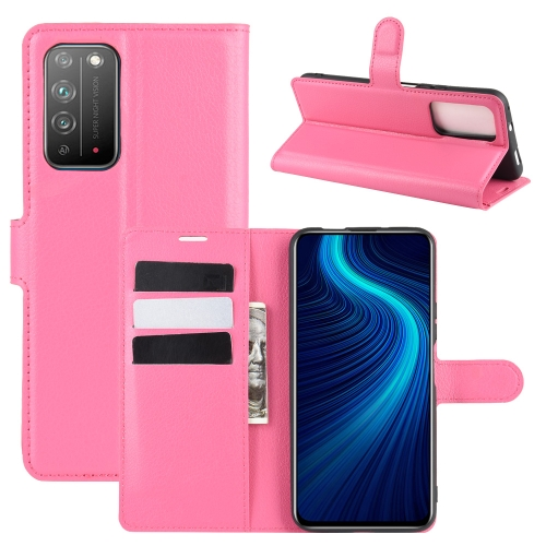 For Honor X10 5G   Litchi Texture Horizontal Flip Protective Case with Holder & Card Slots & Wallet(Rose red)