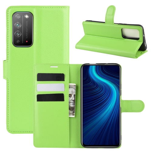 For Honor X10 5G   Litchi Texture Horizontal Flip Protective Case with Holder & Card Slots & Wallet(Green)