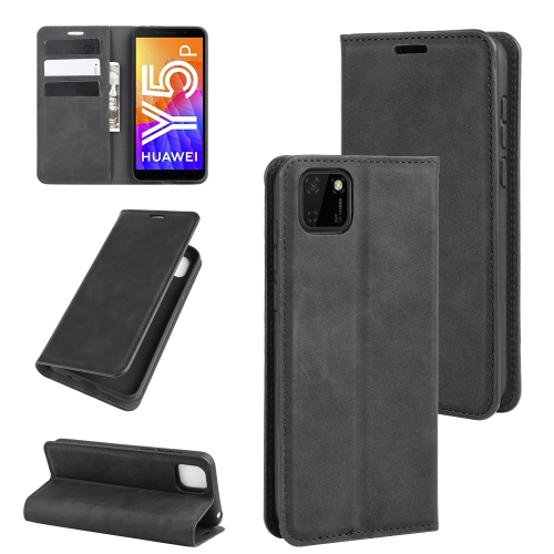 For Huawei Y5p/Honor 9S   Retro-skin Business Magnetic Suction Leather Case with Holder & Card Slots & Wallet(Black)