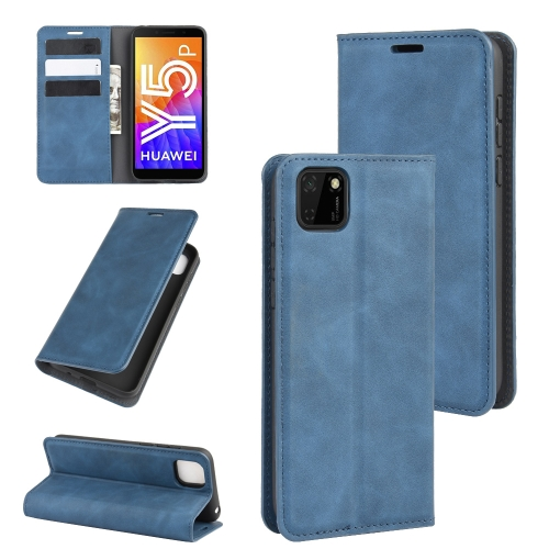 For Huawei Y5p/Honor 9S   Retro-skin Business Magnetic Suction Leather Case with Holder & Card Slots & Wallet(Dark Blue)