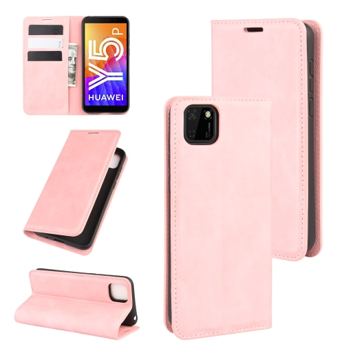 For Huawei Y5p/Honor 9S   Retro-skin Business Magnetic Suction Leather Case with Holder & Card Slots & Wallet(Pink)