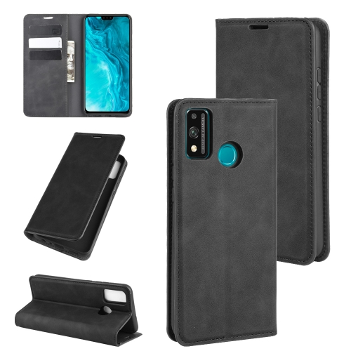 For Honor 9X lite   Retro-skin Business Magnetic Suction Leather Case with Holder & Card Slots & Wallet(Black)