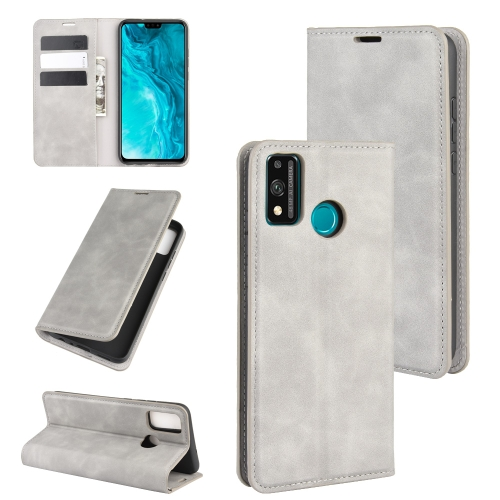 For Honor 9X lite   Retro-skin Business Magnetic Suction Leather Case with Holder & Card Slots & Wallet(Grey)
