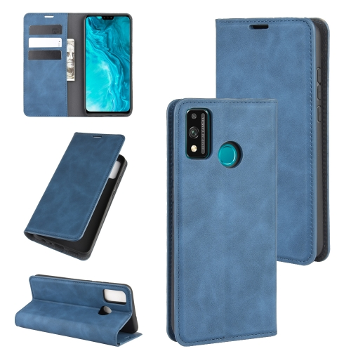 For Honor 9X lite   Retro-skin Business Magnetic Suction Leather Case with Holder & Card Slots & Wallet(Dark Blue)