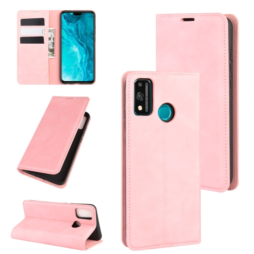 For Honor 9X lite   Retro-skin Business Magnetic Suction Leather Case with Holder & Card Slots & Wallet(Pink)