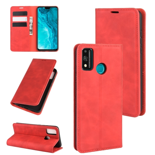 For Honor 9X lite   Retro-skin Business Magnetic Suction Leather Case with Holder & Card Slots & Wallet(Red)
