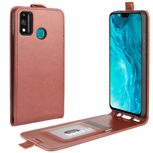 For Huawei Honor 9X lite   R64 Texture Single Vertical Flip Leather Protective Case with Card Slots & Photo Frame(Brown)