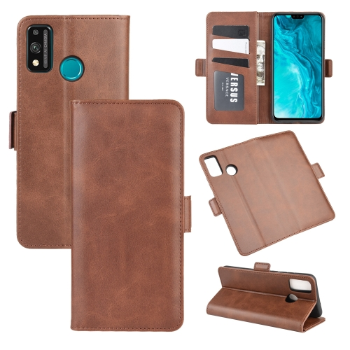 For Honor 9X lite   Dual-side Magnetic Buckle Horizontal Flip Leather Case with Holder & Card Slots & Wallet(Brown)