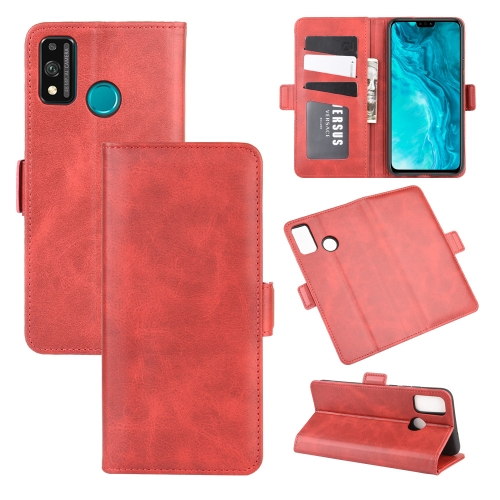 For Honor 9X lite   Dual-side Magnetic Buckle Horizontal Flip Leather Case with Holder & Card Slots & Wallet(Red)