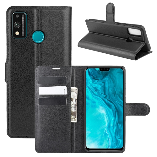 For Honor 9X lite   Litchi Texture Horizontal Flip Protective Case with Holder & Card Slots & Wallet(Black)