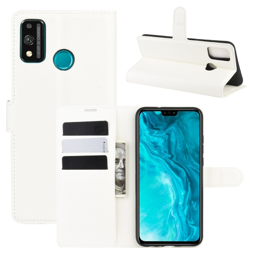 For Honor 9X lite   Litchi Texture Horizontal Flip Protective Case with Holder & Card Slots & Wallet(White)