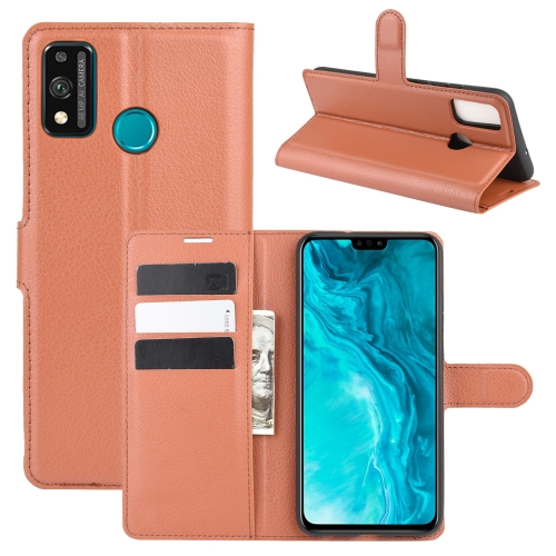 For Honor 9X lite   Litchi Texture Horizontal Flip Protective Case with Holder & Card Slots & Wallet(Brown)