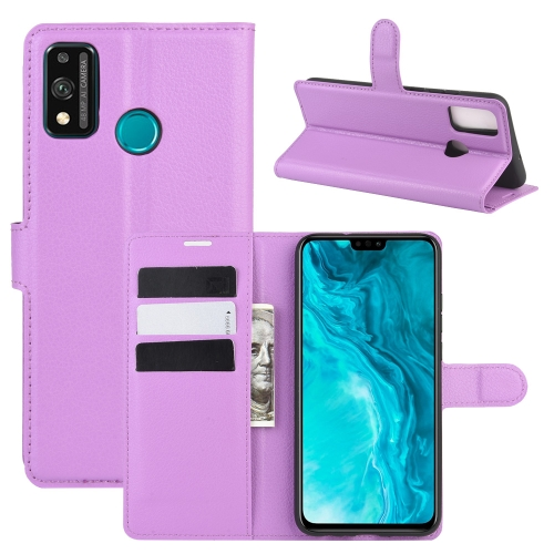 For Honor 9X lite   Litchi Texture Horizontal Flip Protective Case with Holder & Card Slots & Wallet(Purple)