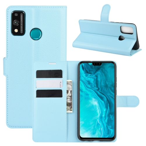 For Honor 9X lite   Litchi Texture Horizontal Flip Protective Case with Holder & Card Slots & Wallet(Blue)