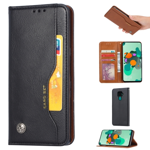 For Xiaomi Redmi Note 9/Redmi 10X   Knead Skin Texture Horizontal Flip Leather Case , with Photo Frame & Holder & Card Slots & Wallet(Black)