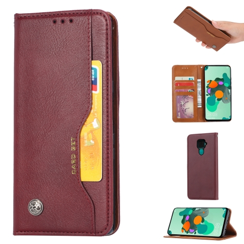 For Xiaomi Redmi Note 9/Redmi 10X   Knead Skin Texture Horizontal Flip Leather Case , with Photo Frame & Holder & Card Slots & Wallet(Wine Red)