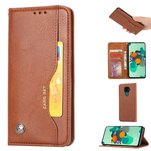 For Xiaomi Redmi Note 9/Redmi 10X   Knead Skin Texture Horizontal Flip Leather Case , with Photo Frame & Holder & Card Slots & Wallet(Brown)