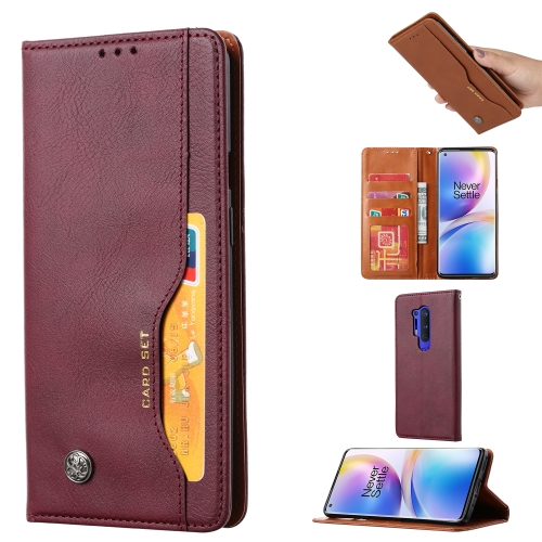 For One PLus 8 Pro   Knead Skin Texture Horizontal Flip Leather Case , with Photo Frame & Holder & Card Slots & Wallet(Wine Red)
