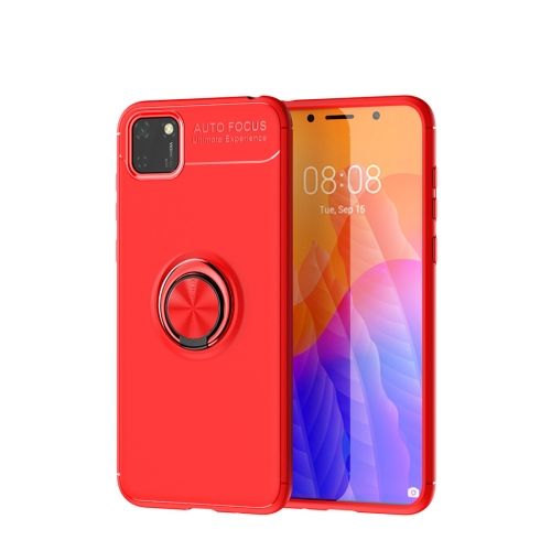 For Huawei Y5P / Honor 9S   Metal Ring Holder 360 Degree Rotating TPU Case(Red+Red)