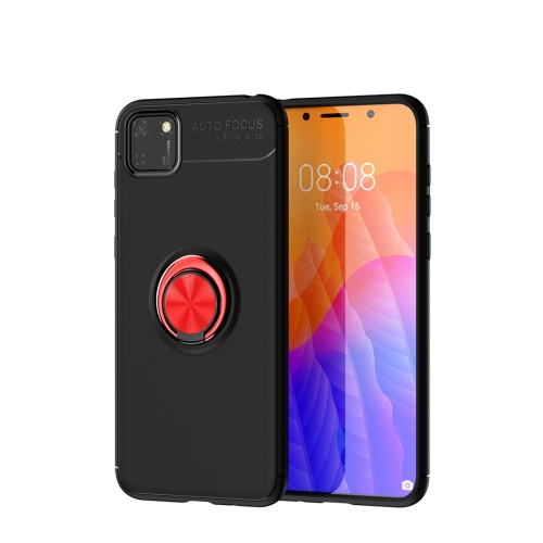 For Huawei Y5P / Honor 9S   Metal Ring Holder 360 Degree Rotating TPU Case(Black+Red)