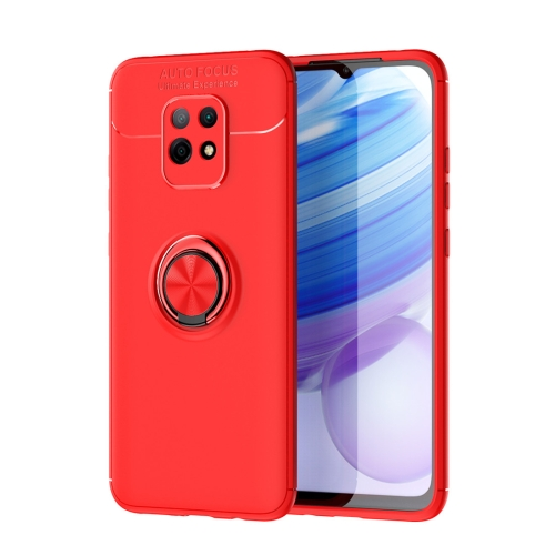 For Xiaomi Redmi 10X 5G / 10X Pro 5G   Metal Ring Holder 360 Degree Rotating TPU Case(Red+Red)
