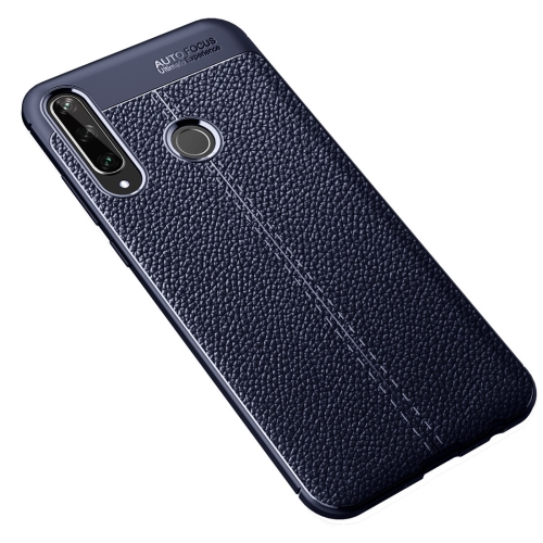 For Huawei Y6P   Litchi Texture TPU Shockproof Case(Navy Blue)