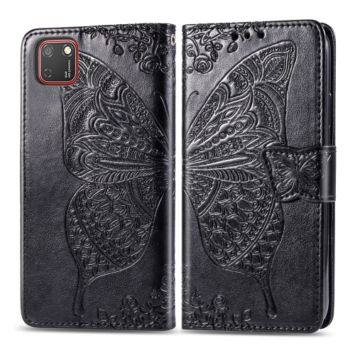 For Huawei Y5P / Honor 9S   Butterfly Love Flower Embossed Horizontal Flip Leather Case with Bracket / Card Slot / Wallet / Lanyard(Black)