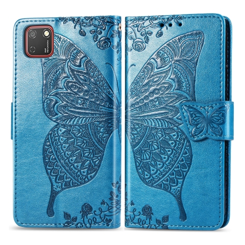 For Huawei Y5P / Honor 9S   Butterfly Love Flower Embossed Horizontal Flip Leather Case with Bracket / Card Slot / Wallet / Lanyard(Blue)