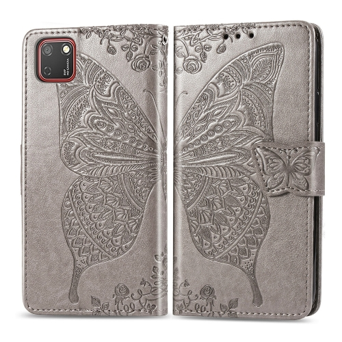 For Huawei Y5P / Honor 9S   Butterfly Love Flower Embossed Horizontal Flip Leather Case with Bracket / Card Slot / Wallet / Lanyard(Gray)