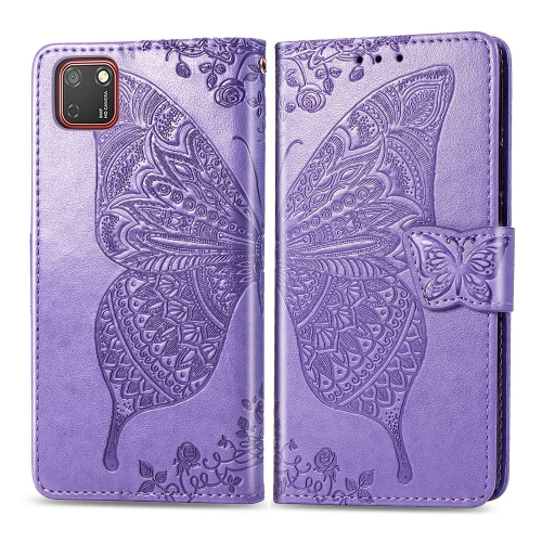 For Huawei Y5P / Honor 9S   Butterfly Love Flower Embossed Horizontal Flip Leather Case with Bracket / Card Slot / Wallet / Lanyard(Light Purple)