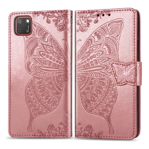 For Huawei Y5P / Honor 9S   Butterfly Love Flower Embossed Horizontal Flip Leather Case with Bracket / Card Slot / Wallet / Lanyard(Rose Gold)