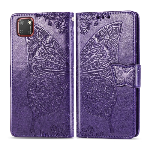 For Huawei Y5P / Honor 9S   Butterfly Love Flower Embossed Horizontal Flip Leather Case with Bracket / Card Slot / Wallet / Lanyard(Dark Purple)