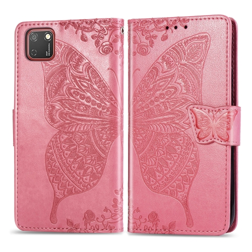 For Huawei Y5P / Honor 9S   Butterfly Love Flower Embossed Horizontal Flip Leather Case with Bracket / Card Slot / Wallet / Lanyard(Pink)